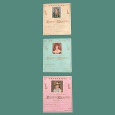 Three 1876 Chromolitho Embellished Excelsior Rewards of Merit