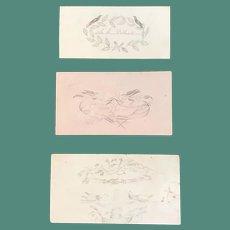 Three 1840's Hand Drawn Calling Cards