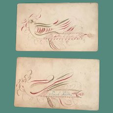 Pair of Early 19thc Calligraphic Calling Cards