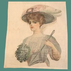1911 Lithograph on Linen Square - Gibson Girl