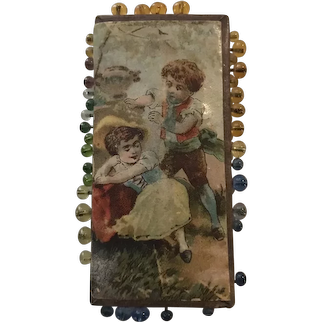 19thc German Pin Card - Playing in the Garden