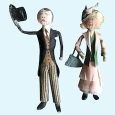 Pair of Exceptional Small 1930's  Cloth & Crepe Paper Dolls - A Lady and A Gentleman