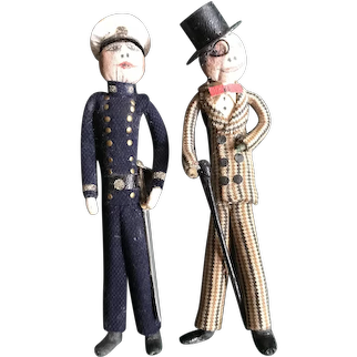 Pair of Exceptional 1930's Cloth over Wire Dolls - An Officer and A Gentleman