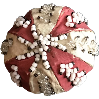 Late 19thc  English Beaded Silk Pin Cushion Ball