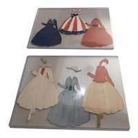6 Hand Drawn and Painted Paper Doll Outfits c1918