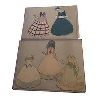 5 Hand Drawn and Painted  Paper Doll Outfits c1918