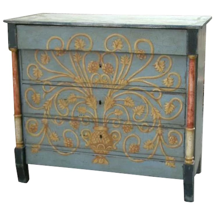 Superbly Painted Commode Chest Of Drawers From Spain Relic
