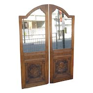 Pair of Carved Teak Doors from  Ship's Chartroom