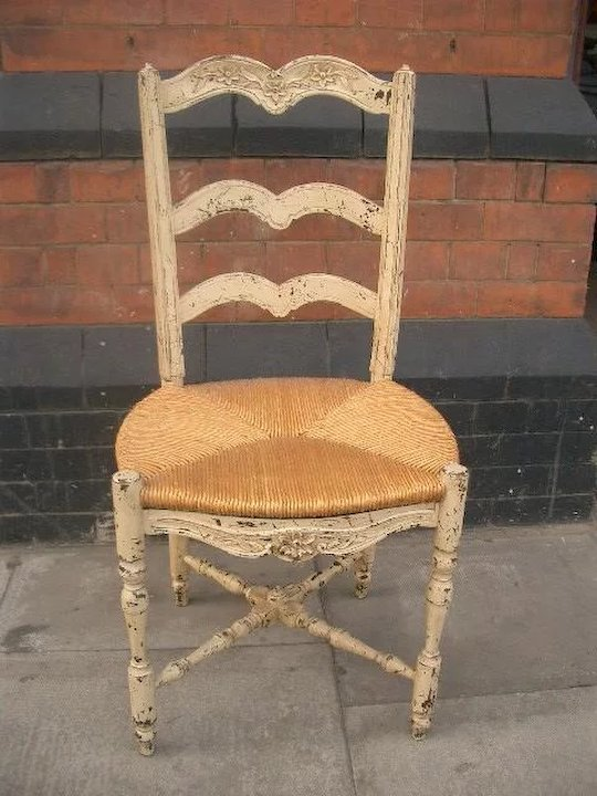 Set Of 4 18th Century Traditional Rush Seat Chairs From Provence, Southern  France
