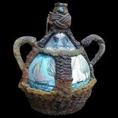 Early 19th C.'Sailorwork' hand-painted 'Grog' Jar