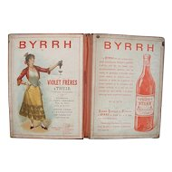 French 'Byrrh'  Advertising Railroad Timetable Folder