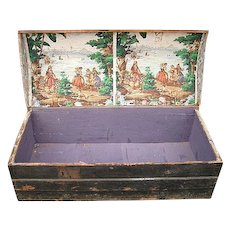 Interesting  French Wooden Trunk  with original printed paper lining