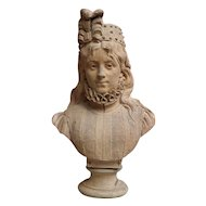 Signed Terracotta Bust of a Young Woman in Elizabethan costume.