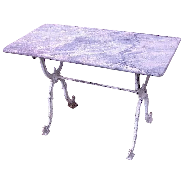 French Garden Console Table With Marble