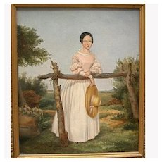 Early 19th C. Oil painting of Young Woman