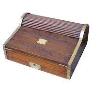 19th C. Camphorwood Campaign Writing Box