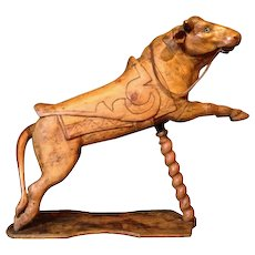 Small carved wood carousel Bull