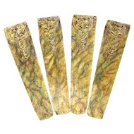 Set of Four Carved Wood Pilasters with Marbling.