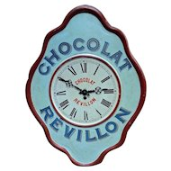 Original Vintage Advertising Clock 'Chocolat Revillon' from France