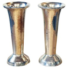 Pair of vintage Silvered Flower Vases