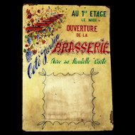Hand-painted Vintage Menu Board from a Restaurant in France.
