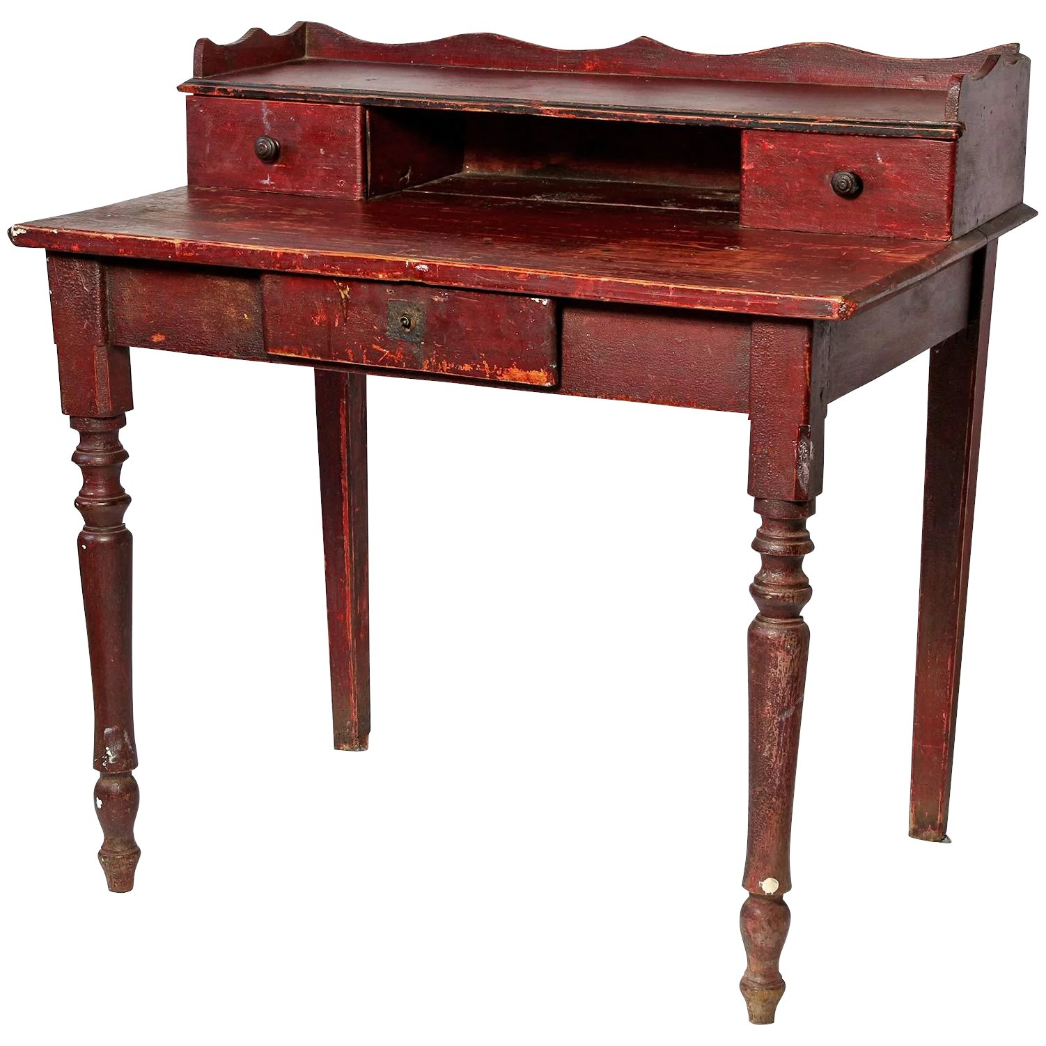 Click to expand - Small French Desk In 'Bullsblood' Red Paint : Relic Antiques Of