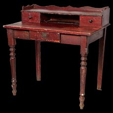 Small French Desk in 'Bullsblood' red paint