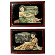 Pair of Mirrors depicting Chinese Beauties