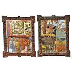 Pair of 'Trampwork' framed Mirrors from Alsace.