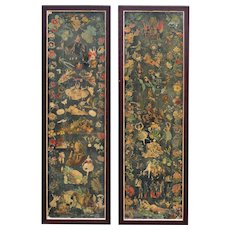 Pair of Framed Victorian Scrap- Screen panels from England