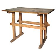 Antique French Butchers' Shop Table made of Fruitwood