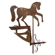 Rare Weather Vane Pennant with Prancing Horse