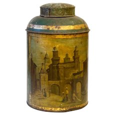 Historic Victorian Tea Canister with Oil painting of Italian City.
