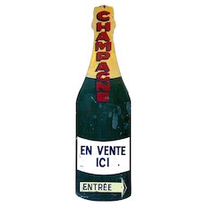Giant Enamel Champagne Bottle Sign from France