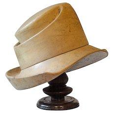 Vintage Wooden Hatmakers' Block on Stand.