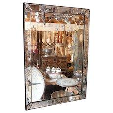 Parisian Bevelled Bar Mirror with Venetian Mirrored Frame.