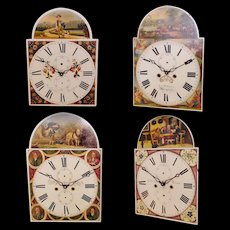 4 Historic & Working 'Grandfather' Clock Dials from England..