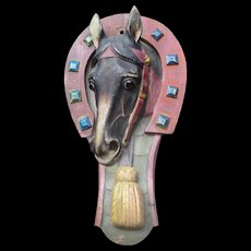 Carved Wood Horse Head Sign