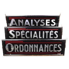 Three Vintage 'Luminous' Pharmacy Signs from France.