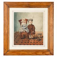 Naive Watercolor painting of French Children c.1848