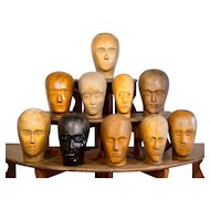 Vintage Carved Wood Wig Display Heads- 9 available.