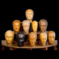 Set of 10 Carved Wooden Wig Display Heads.