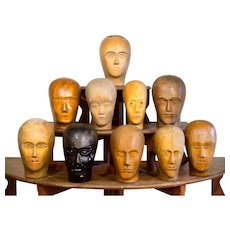 Vintage Carved Wood Wig Display Heads- 9 available.