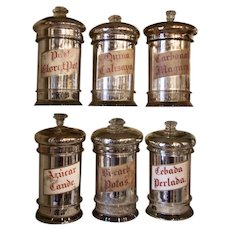 Set of 6 Silvered Herbalist's Glass Display Jars from Spain