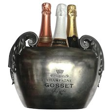 Decorative Pewter 3-Bottle Champagne Bucket from France.