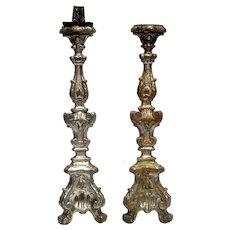 Pair of 18th Century Gilded Wooden Candlesticks from Italy.
