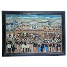 Naive  'Gouache' Framed Painting of French Emperor with his Army.