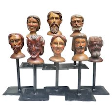 Set of 8 19th Century Carved Wooden Puppet Heads on Display Stands