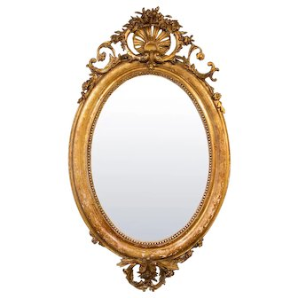 19th C. Gilded Oval Mirror from France