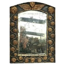 Exquisite Small Mirror with Intricate Woodcarving.